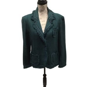 Dialogue Wool Blend Fringe Trim Green Blazer 90s